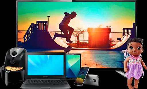 Televisão, latptop, tablet, celulares, fryer e boneca
