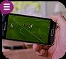 Celular exibindo jogo de futebol