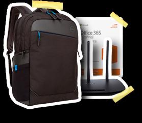 Mochila para laptop e pacote Office