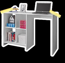 Escrivaninha para estudo, computador e livros